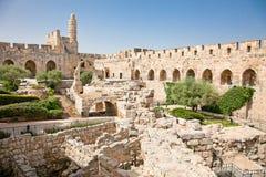 Stå hög av David i Jerusalem, Israel Arkivfoto