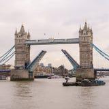 Stå högt bron, London med två lyftta halvor av bron Royaltyfri Bild