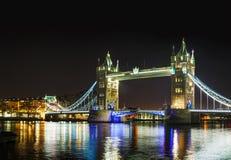 Stå högt den panorama- överblicken för bron i London, Storbritannien Royaltyfria Foton