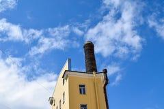 Stå högt med ett rör på den blåa himlen Royaltyfri Foto