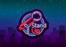 Stå komedishowen är upp ett neontecken Neonlogo, symbol, ljust lysande baner, neon-stil affisch, ljus nattetid stock illustrationer