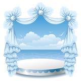 Stå och snöra åt gardinen stock illustrationer