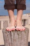 Stå på en strandpol Arkivfoton