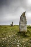 Stå stenar på svartabörshajvillebrådet Arkivbild