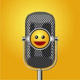Stå upp affischen för komedishowen med mikrofonen och leframsidan Blidka händelsevektorbakgrund Royaltyfri Fotografi