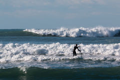 Stå upp skovelbrädet, surfaremannen som ombord paddleboarding royaltyfri fotografi