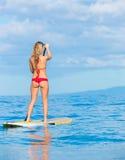 Stå upp skoveln som surfar i Hawaii Arkivfoton