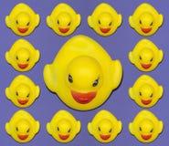Stå ut begrepp med gula plast- änder arkivfoto