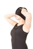 Stående av ögonbindeln för ung kvinna som isoleras Royaltyfria Foton