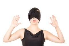 Stående av ögonbindeln för ung kvinna som isoleras Arkivfoton