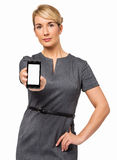 Stående av affärskvinnan Showing Smart Phone Arkivfoto