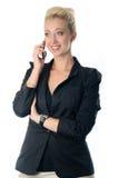 Stående av affärskvinnan som talar på mo Royaltyfria Foton
