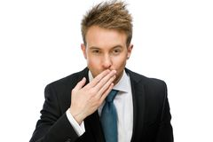 Stående av affärsmannen som blåser kyssen arkivfoton