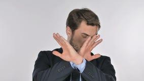 Stående av affärsmannen som gör en gest kasseringen, vägran stock video