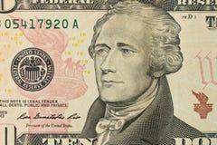 Stående av Alexander Hamilton på räkningen för dollar 10 close upp arkivbilder