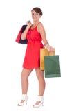 Stående av att bedöva den unga kvinnan med shoppingpåsen Royaltyfri Foto
