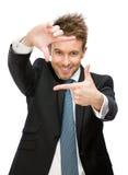 Stående av att göra en gest för chefram arkivbilder