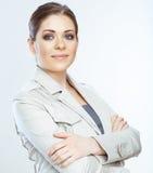 Stående av att le affärskvinnan, på vit bakgrund Arkivbilder
