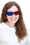 Stående av att le den Caucasian flickan i exponeringsglas 3D Royaltyfria Foton