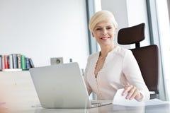 Stående av att le den mogna affärskvinnan med bärbara datorn och dokumentet på kontorsskrivbordet fotografering för bildbyråer