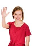 Stående av att le kvinnan som visar fem fingrar Arkivfoton