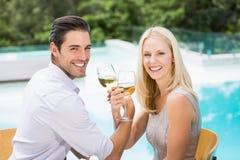 Stående av att le par som dricker vin Royaltyfri Bild