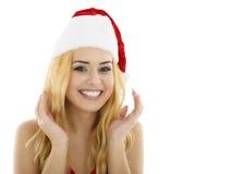 Stående av attraktivt caucasian le blont för kvinna som isoleras på Royaltyfria Foton