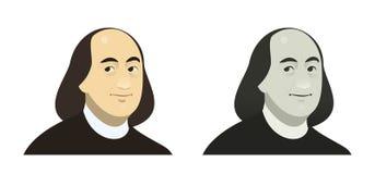 Stående av Benjamin Franklin, det berömda USA politiska diagramet, färg och grå färger royaltyfri illustrationer