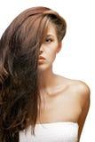 Stående av brunettkvinnan med hår på framsidan fotografering för bildbyråer