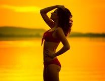 Stående av brunettkvinnan som poserar i profil Arkivbild
