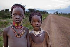 Stående av de afrikanska flickorna Arkivfoton