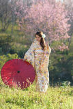 Stående av den asiatiska traditionella kvinnan Fotografering för Bildbyråer