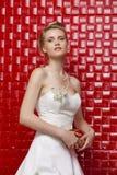 Stående av den bärande bröllopsklänningen för ursnygg brud royaltyfri fotografi