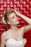 Stående av den bärande bröllopsklänningen för ursnygg brud arkivfoto