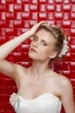 Stående av den bärande bröllopsklänningen för ursnygg brud arkivbilder