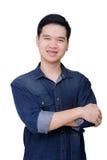 Stående av den bärande jeansskjortan för asiatisk man Royaltyfri Bild