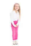 Stående av den blonda flickan i rosa jeans Arkivbilder