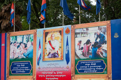 Stående av den Cambodias konungen i Siem Reap Arkivbild