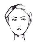 Stående av den eleganta flickaståenden av den eleganta flickan med snittet för kort hår Fotografering för Bildbyråer