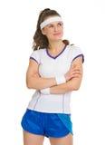 Stående av den fundersama tennisspelaren Arkivbilder