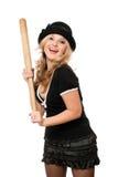 Stående av den gladlynt flickan med ett slagträ Fotografering för Bildbyråer