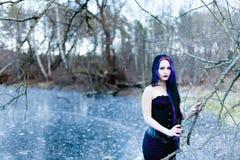 Stående av den gotiska kvinnan på den djupfrysta sjön Royaltyfri Bild