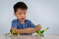 Stående av den gulliga asiatiska pojken som spelar med färgrik plast- leksakbri royaltyfri foto