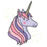 Stående av den gulliga enhörningen Purpurfärgat fantasidjur med hornet Slapp fokus Färgrik vektorillustration i tecknad filmstil