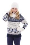 Stående av den gulliga härliga flickan som poserar i vinterkläderisolat Fotografering för Bildbyråer