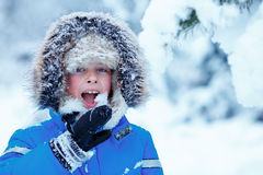 Stående av den gulliga ungepojken som försöker att äta snö utomhus Barnet som har gyckel i en vinter, parkerar Arkivbilder