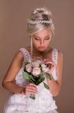 Stående av den härliga blonda bruden Royaltyfria Bilder