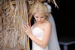 Stående av den härliga blonda bruden Royaltyfri Bild