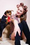 Stående av den härliga blonda utvikningsbrudflickan som har gyckel som spelar med den gulliga lilla hunden som kopplar av i säng  Royaltyfri Foto