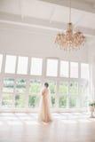 Stående av den härliga bruden inomhus Dana brudflickan i ursnygg bröllopsklänning i studio Fotografering för Bildbyråer